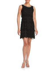 Jessica Simpson Sleeveless Layered Lace Sheath Dress Black