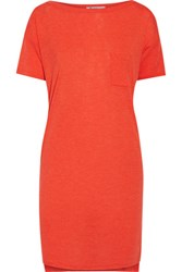 Alexander Wang T By Stretch Jersey Mini Dress Bright Orange