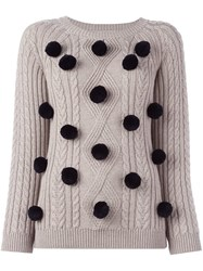 Chinti And Parker 'Aran' Pom Pom Sweater Nude And Neutrals