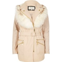 River Island Womens Cream Padded Faux Fur Collar Coat