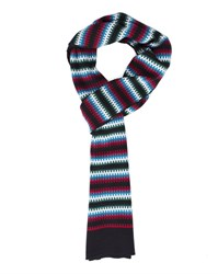 Carven Navy Pixel Jacquard Multi Coloured Scarf Blue
