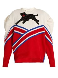 Gucci Panther Applique Pleated Shoulder Wool Sweater Red White