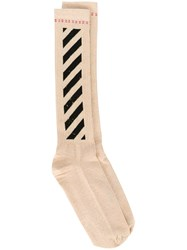 Off White Diagonal Stripe Socks Nude And Neutrals