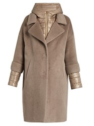 Herno Soft Brush Showerproof Wool Blend Coat Dark Beige