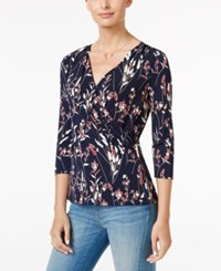 Charter Club Floral Print Faux Wrap Top Only At Macy's Deepest Navy