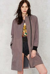 Nasty Gal J.O.A. Game On Zip Coat Gray
