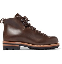 Feit Hiker Shearling Trimmed Leather Boots Brown