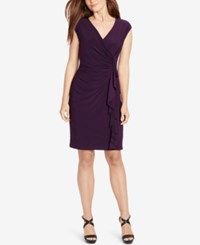 American Living Cap Sleeve Ruffled Dress Eggplant