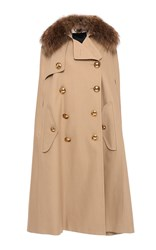Burberry Trench Cape With Raccoon Collar Khaki