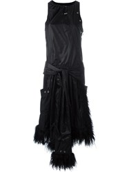 Paco Rabanne Sleeveless Lamb Fur Trim Dress Black