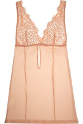 Mimi Holliday Guipure Lace And Silk Georgette Chemise Pink