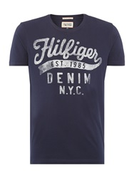Tommy Hilfiger Tommy Graphic Crew Neck Slim Fit T Shirt Navy