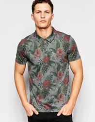 Only And Sons Polo Shirt With All Over Floral Print Dark Grey Marl