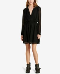 Denim And Supply Ralph Lauren Velvet Trim Sheer Dress Polo Black