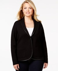 Charter Club Plus Size Faux Leather Trim Blazer Only At Macy's Deep Black
