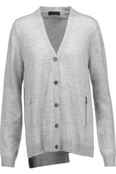 Belstaff Everson Split Back Wool Cardigan Light Gray
