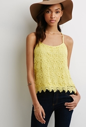 Forever 21 Floral Crochet Cami Yellow