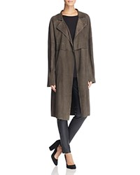 Linea Pelle Long Suede Trench Coat Grey