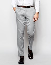 Asos Skinny Suit Trousers In Linen Mix Grey
