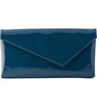 Lk Bennett Leonie Asymmetric Patent Leather Clutch Bag Gre Evergreen