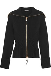 Alexander Mcqueen Ribbed Knit Wool Peplum Cardigan Black
