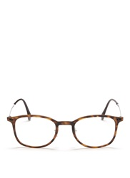 Ray Ban 'Rb7051 Light Ray' Titanium Temple Round Optical Glasses Brown Animal Print