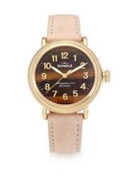 Shinola Runwell Coin Edge Tiger's Eye Goldtone Stainless Steel And Leather Strap Watch