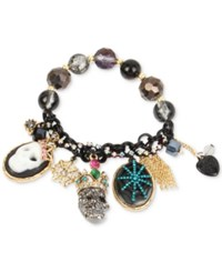 Betsey Johnson Gold Tone Multi Stone Skull And Spiderweb Charm Bracelet