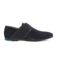 Paul And Joe Panama Navy Dual Fabric Suede And Gum Sole Derbies