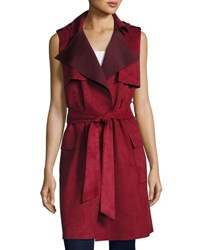 Love Token Faux Suede Trench Vest Wine