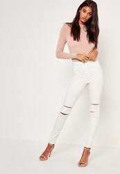 Missguided White Highwaisted Double Slash Skinny Jeans