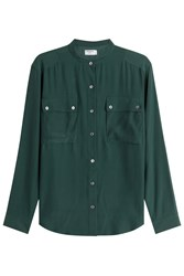Frame Denim Silk Blouse Green