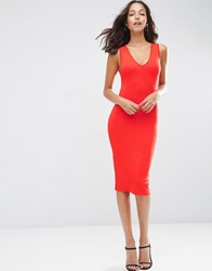 Asos Midi Bodycon Dress With Low V Neck Bright Red