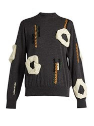Toga Embroidered And Applique Embellished Wool Sweater Grey Multi