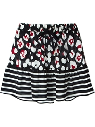 Red Valentino Flower And Stripe Print Skirt