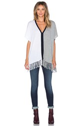 525 America Fringe Colorblock Poncho Top White