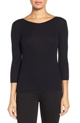 Classiques Entierr Women's Entier Button Back Ribbed Merino Wool Sweater Navy Night
