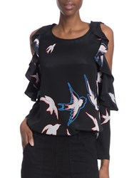 Tracy Reese Flounced Bird Printed Cold Shoulder Silk Blouse Black Multi
