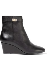 Fendi Goldmine Leather Wedge Ankle Boots Black
