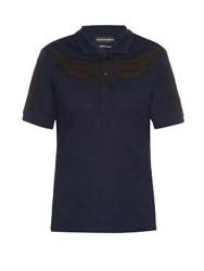 Alexander Mcqueen Wings Applique Cotton Pique Polo Shirt Navy