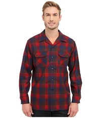 Pendleton L S Board Shirt Red Brown Men's Long Sleeve Button Up