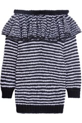 Philosophy Di Lorenzo Serafini Ruffled Striped Off The Shoulder Mohair Blend Sweater Dress Black