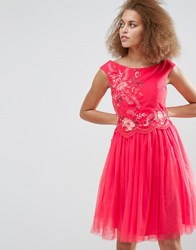 Little Mistress Embroidered Mesh Prom Dress Coral