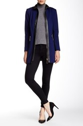 Insight Faux Leather Contrast Ponte Jacket Blue