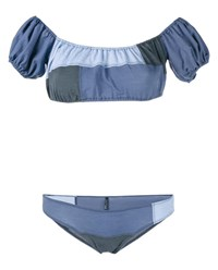 Lisa Marie Fernandez Leandra Denim Patchwork Bikini Blue Grey Denim