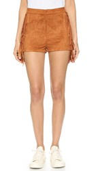 Re Named Faux Suede Fringe Shorts Camel