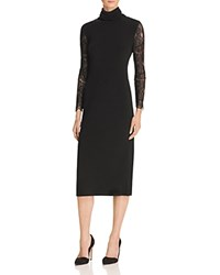 Alice Olivia Kala Turtleneck Lace Sleeve Midi Dress Black