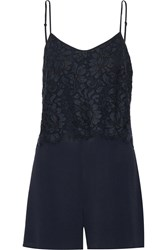 Sandro Payback Embroidered Lace And Crepe Playsuit Blue