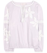 Tory Burch Honour Embroidered Cotton Blouse Purple