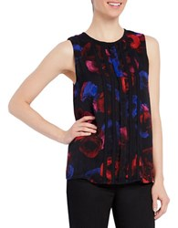 Ellen Tracy Floral Printed Sleeveless Double Layered Top Black Multi